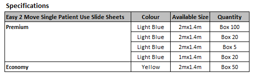 slide sheet spu specs
